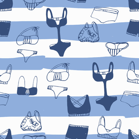 chic panties: Adorable hand drawn swimsuits. Seamless set. Perfect for summer vacation design.