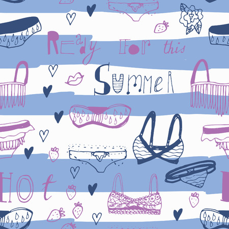 chic panties: Adorable hand drawn swimsuits. Seamless vector set. Perfect for summer vacation design.
