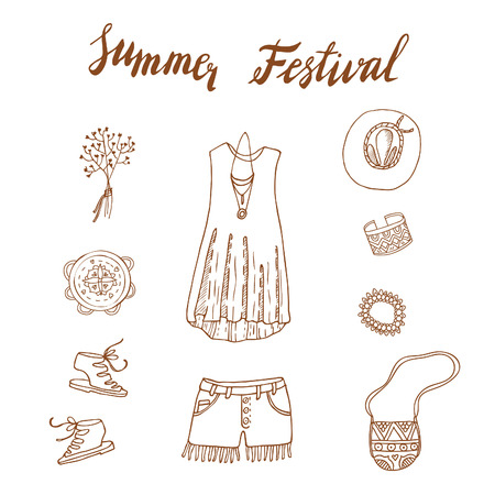 indian teenager: Boho Chic set. Summer fest design. Crystals, feathers, festive look, ornaments, jewelry, tambourine. Illustration