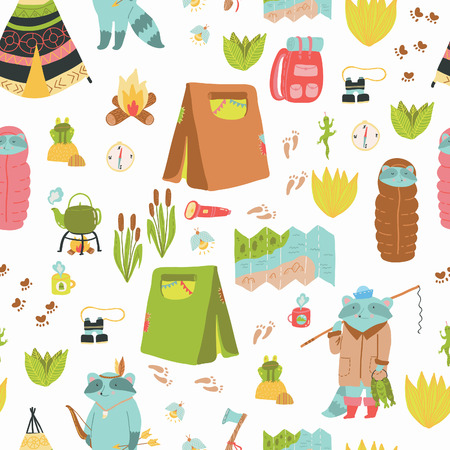 campground: Summer adventure seamless pattern. Cute camping elements and adorable raccoons.