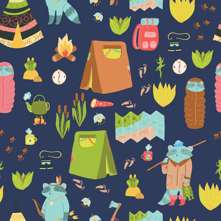 raccoons: Summer adventure seamless pattern. Cute camping elements and adorable raccoons.