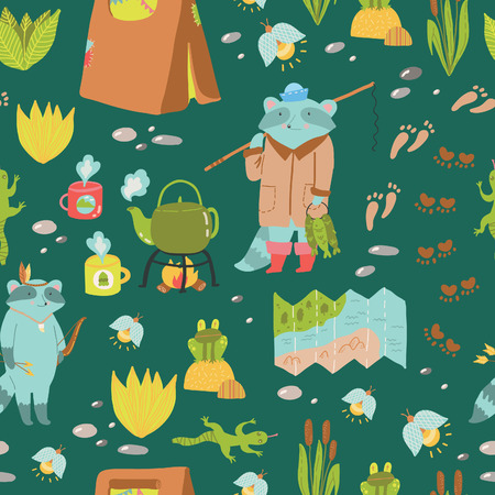 sleeping bags: Summer adventure seamless pattern. Cute camping elements and adorable raccoons.