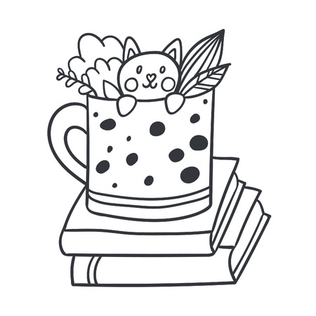 Vector postcard with adorable kitten, books and plants Illustration