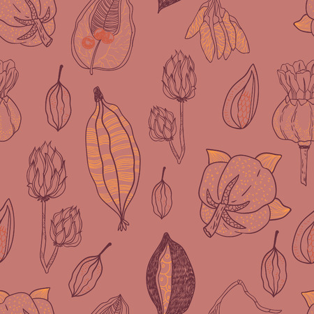 milkweed: Seamless vector pattern with seeds and seed pods in autumn colors. Organic natural shapes.