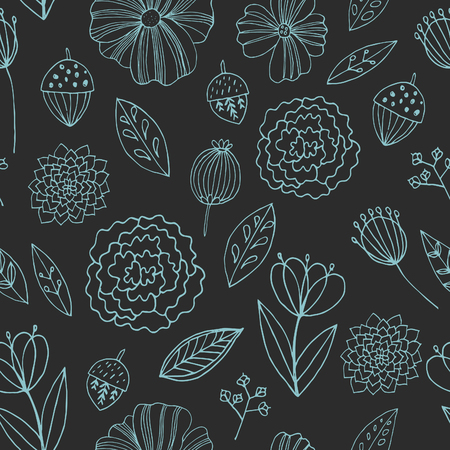 golden daisy: Seamless vector pattern with autumn flowers, leaves and grass.