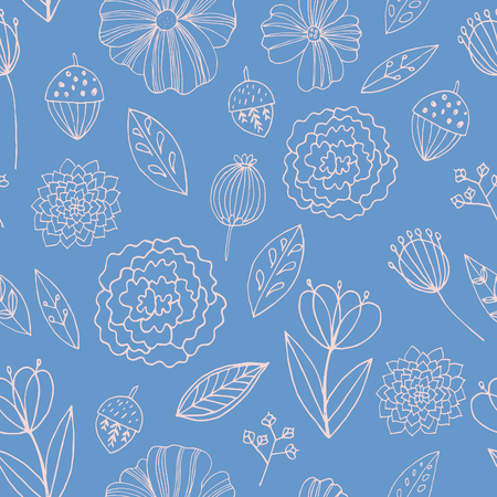 autumn flowers: Seamless vector pattern with autumn flowers, leaves and grass.
