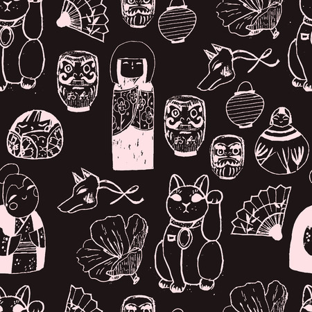 kokeshi: Treasures from Japan. Hand drawn seamless vector pattern with cute traditional objects.