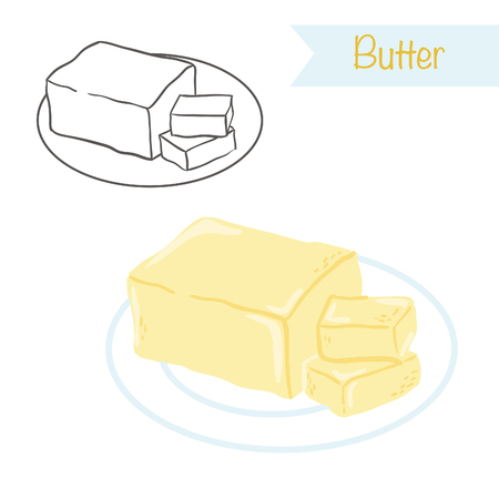 Hand drawn outlined and colored butter
