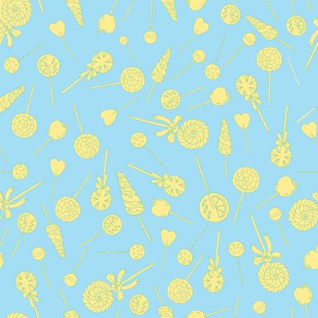Sweet hand drawn lollipops seamless vector pattern Illustration