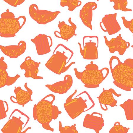 Cute vintage teapots seamless vector pattern Stock Illustratie