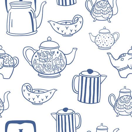Cute vintage teapots seamless vector pattern Illustration