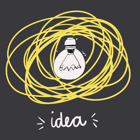 positive energy: Bright idea. Hand drawn vintage lightbulbs for your design. Motivation card Illustration