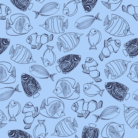 aquaculture: Trendy summer design with hand drawn tropical fishes. Seamless vector pattern