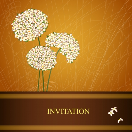 Vector floral background with three flowers  Invitation card  Illustration