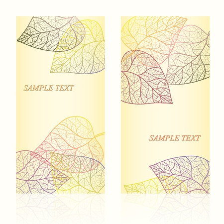 Abstract template card with autumn leaves and your text for background  Layered vector  Illustration
