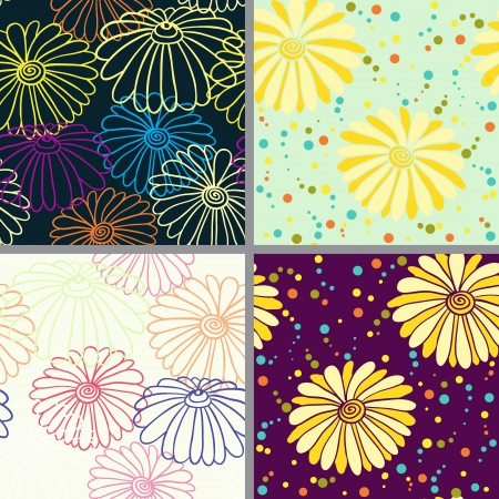 Set of eight colorful floral patterns  seamlessly tiling  Seamless pattern can be used for wallpaper, pattern fills, web page background,surface textures  Floral seamless backgrounds combo  Illustration