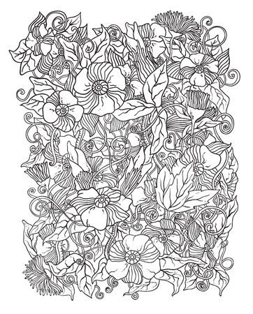 Vector floral background, hand drawn retro flowers and leaves in shades of gray