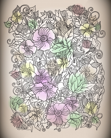 Vector floral background, hand drawn retro flowers and leaves Illustration