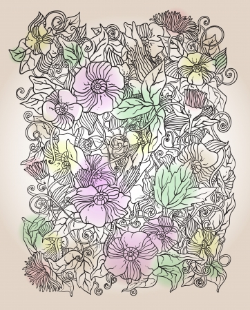 floral background, hand drawn retro flowers and leaves Vector