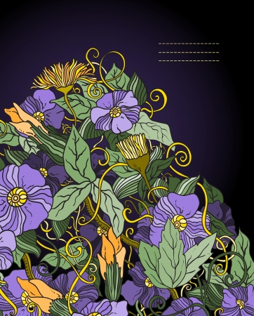floral background, hand drawn retro flowers and leaves Illustration