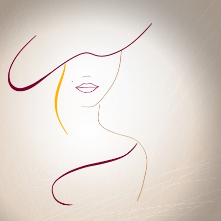Abstract silhouette of a woman with a mole on the lips and a hat