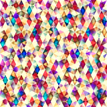 Retro vector seamless pattern. Colorful mosaic banner. Repeating geometric tiles with colored  rhombus. Vector