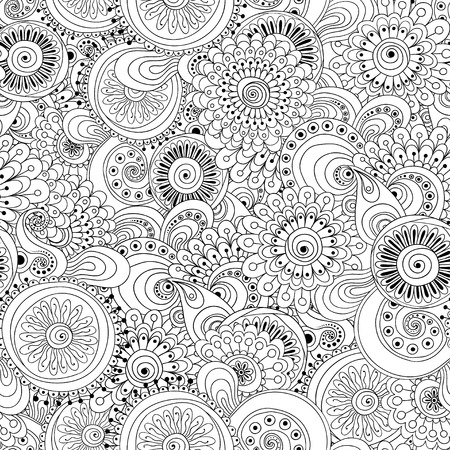 Seamless flower black and white retro background pattern in vector