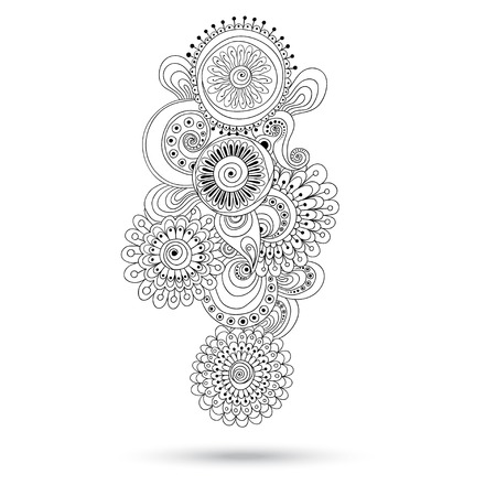 Henna Paisley Mehndi Doodles Abstract Floral Vector Illustration Design Element. Black And White Version. Vector
