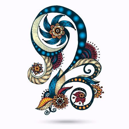 Henna Paisley Mehndi Doodles Abstract bloemen vector illustratie ontwerp Element. Gekleurde versie. Stock Illustratie