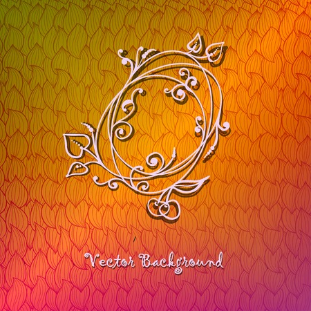 Hand-drawn ornate abstract wave colorful background with floral circle. Retro label design. Vector