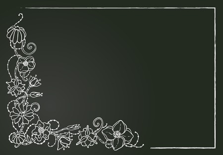 Vector floral card, hand drawn chalk flowers and leaves on the dark background. Vertical format (horizontal format in my portfolio).
