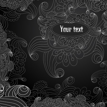 Vector floral decorative black and white background. Template frame design for card with place for your text.