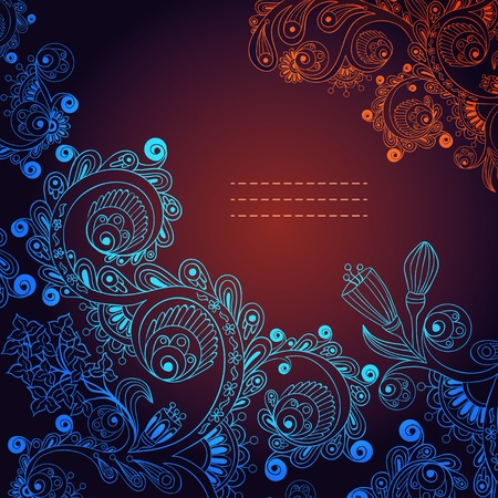 indian summer: Vector floral decorative background. Template frame design for card with place for your text.