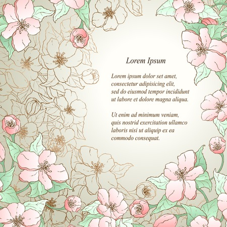 Vector floral decorative background. Template frame design for card with place for your text. Vector