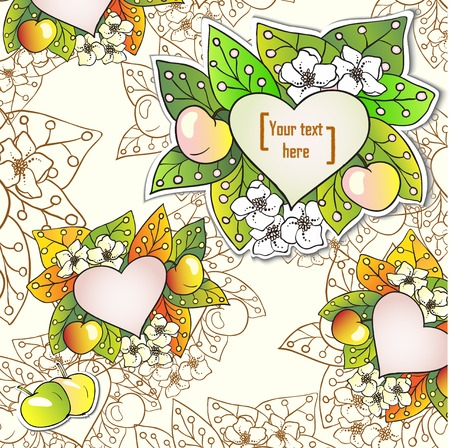 Vector floral decorative background with apples. Template frame design for card with place for your text. Vector