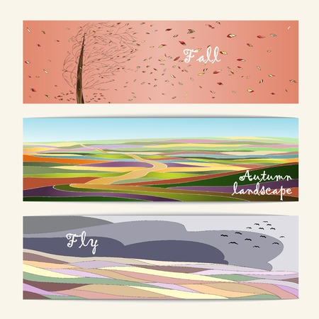 Autumn set of three nature banners, road, tree and open sky. Colored autumn landscapes. Vector