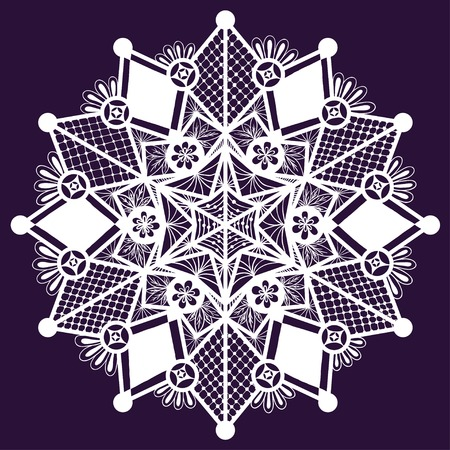 Ornamental winter hand-drawn lace snowflake. Doodle background. Vector