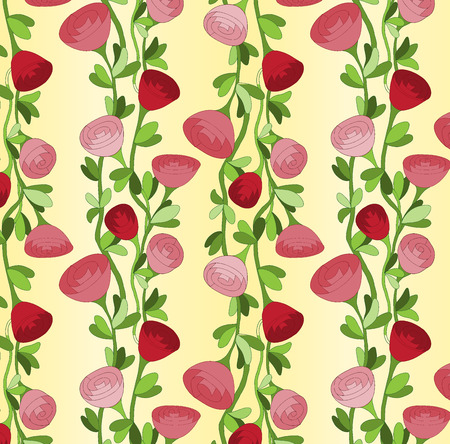 Seamless pattern background with vertical lines of red roses Vector
