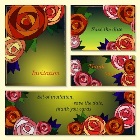 caes: Invitación, tarjeta de agradecimiento, las tarjetas de fecha con las rosas y las hojas de mosaico. Doodle folleto belleza tarjeta de plantilla con el texto para el fondo, telón de fondo, regalo, invitación, bandera, elemento de diseño.