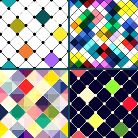 Set of four retro vector seamless pattern. Colorful mosaic banner. Repeating geometric tiles with colored rhombus. Geometric background. Vector
