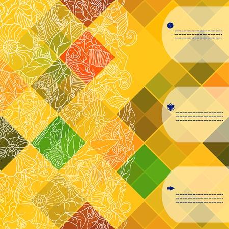レトロなベクターのシームレスなパターン。カラフルなモザイク バナー。色の菱形の幾何学的なタイルを繰り返します。あなたのテキストのための