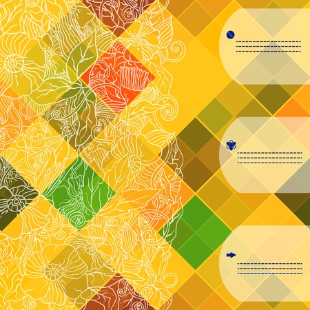 Retro vector seamless pattern. Colorful mosaic banner. Repeating geometric tiles with colored  rhombus. Geometric floral retro background with place for your text.