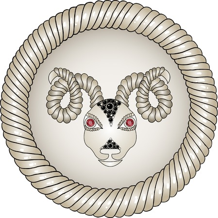 tattoo girl: Head of the ram in circle. Zodiac signs - Aries (colored). Eyes of red rubies (precious stones).