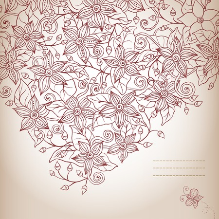 Vector floral background, hand drawn retro flowers, leaves, butterfly and place for your text. Vector