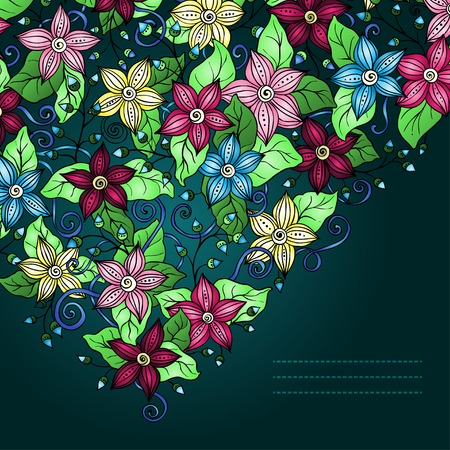 Vector floral background, hand drawn retro flowers, leaves and place for your text. Vector