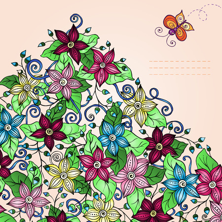 butterfly hand: Vector floral background, hand drawn retro flowers, leaves, butterfly and place for your text.