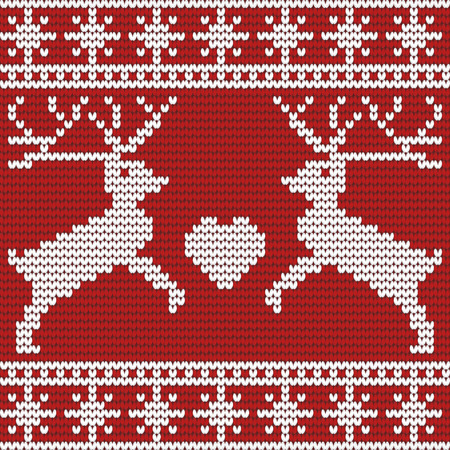 Vector illustration of christmas seamless pattern with deers, heart and snowflakes Vector