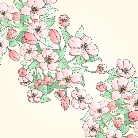 place card: Floral card with place for your text Illustration