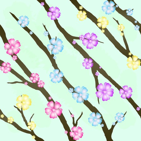 Cherry blossom background (Seamless flowers pattern) Vector