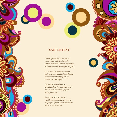 mexican party: Vector floral decorative background. Template frame design for card with place for your text.